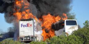 California Bus Crash with Fedex Truck on 5 Freeway: 4-10-2014