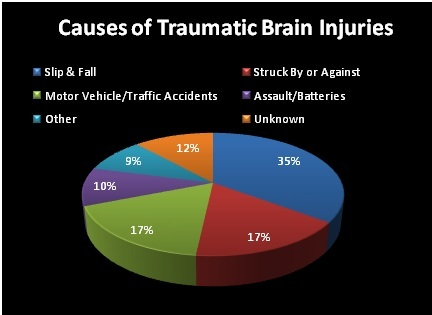 Major causes of brain injuries pie chart