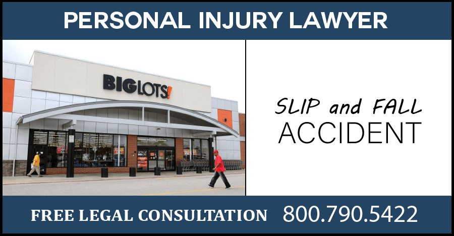 big lots slip and fall wet floor accidents personal injury incident injury broken bones compensation sue lawyer