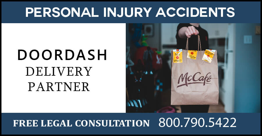 doordash delivery partner personal injury accident slip and fall dog bite broken bones liability compensation sue lawyer attorney