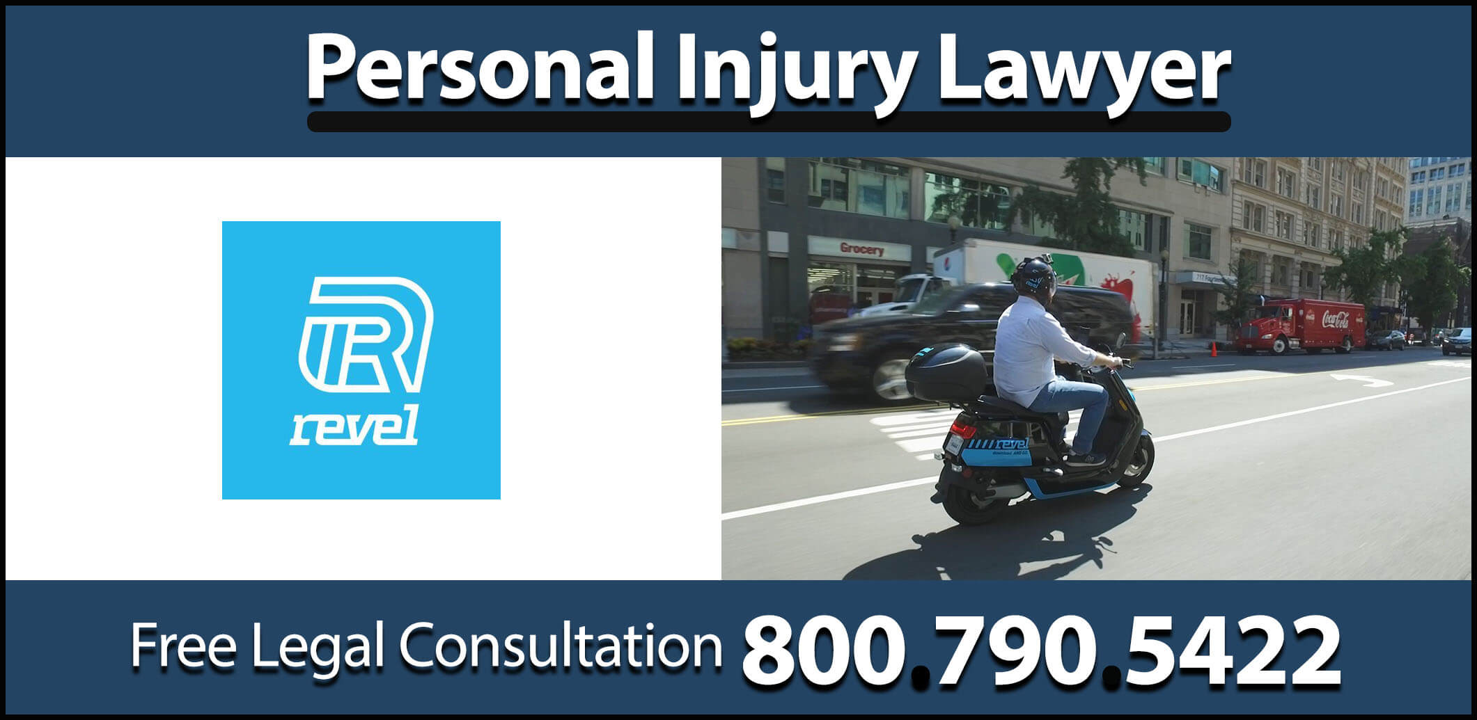 revel moped accident personal injury lawyer attorney sprain concussion fracture damage compensation medical expenses